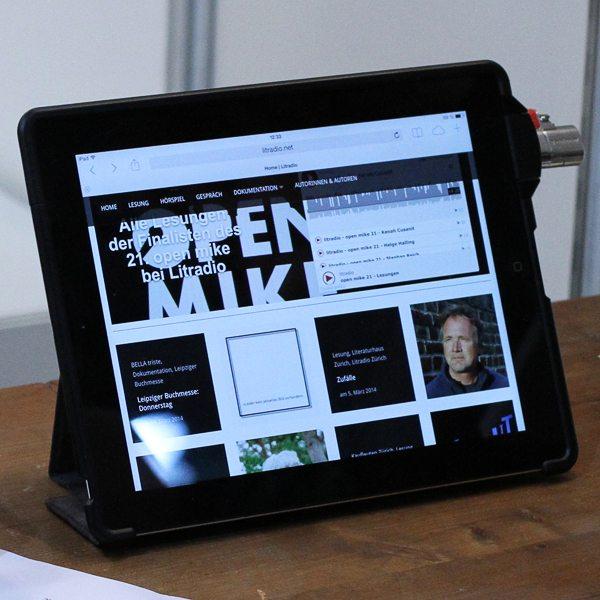 Das Litradio-iPad auf der Leipziger Buchmesse 2014.